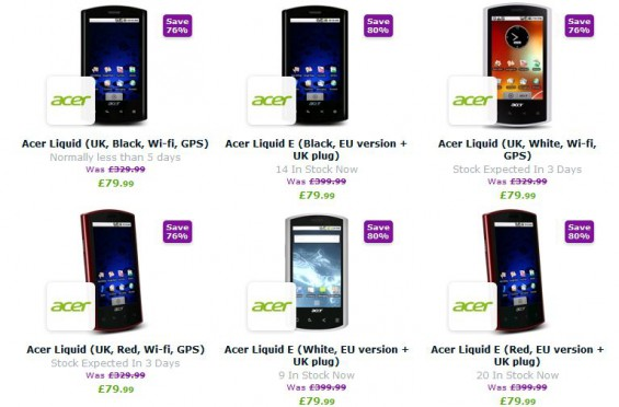 Cheap Acer handsets up for grabs