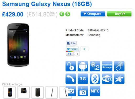 Galaxy Nexus to be available network free for around £515