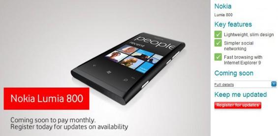Vodafone to carry the Nokia Lumia 800