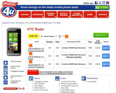 HTC Radar and HTC Titan now available