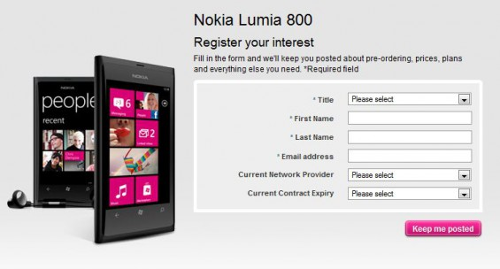 T Mobile offers up the Nokia Lumia 800 too