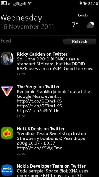 Nokia N9 screenshot   notifications / social stream panel