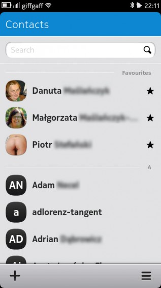 Nokia N9 screenshot   contacts list