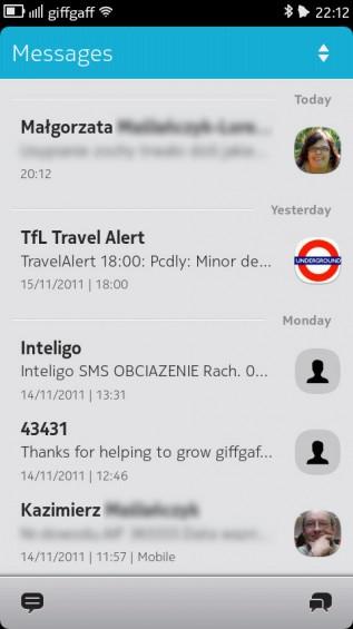 Nokia N9 screenshot   messages