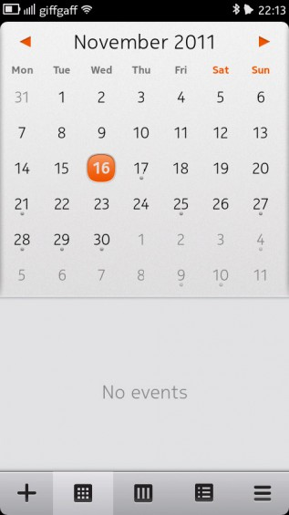 Nokia N9 screenshot   calendar