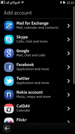Nokia N9 screenshot   online accounts