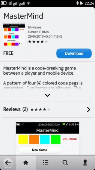 Nokia N9 screenshot   application store 2