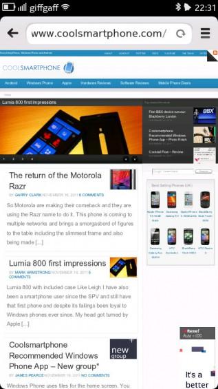 Nokia N9 screenshot   portrait rendering example