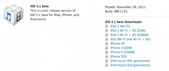 Apple Release iOS5.1 beta