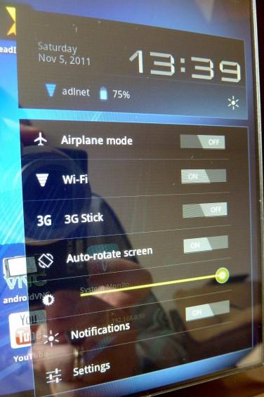 Archos 80 G9   settings menu