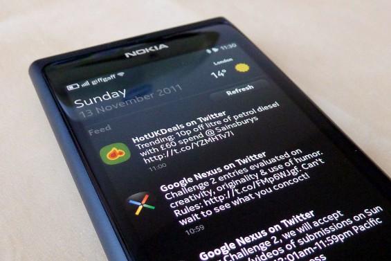 Nokia N9 feed screen