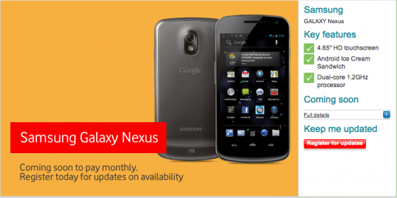 Register For Galaxy Nexus Information On Vodafone