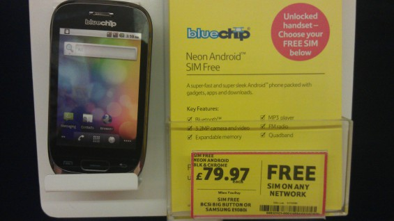 Cheap Bluechip Android handset SIM free at Tesco