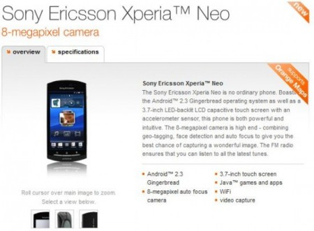 Orange Xperia neo owners getting Android 2.3.4