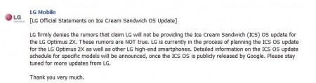 LG Optimus 2X will receive Ice Cream Sandwich