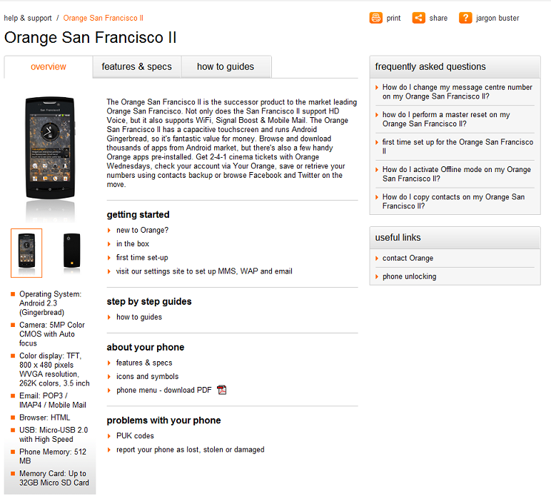 Orange San Francisco II briefly appears on the Orange support pages.