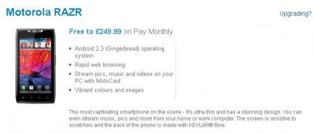 Motorola RAZR now available on O2