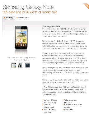 Galaxy Note now available on Orange