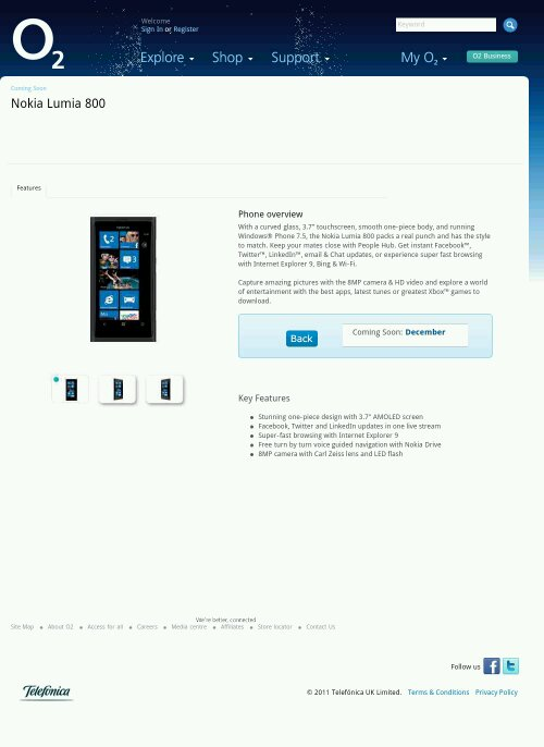 Nokia Lumia 800 finally lands on O2