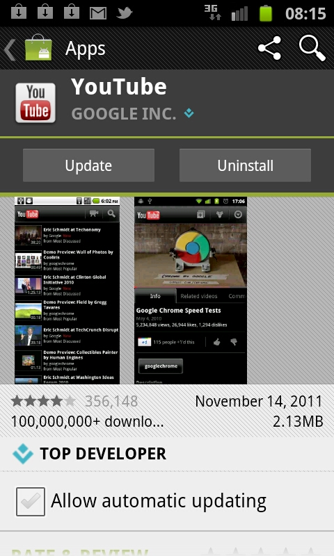 YouTube App receives an update