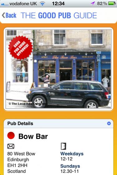 Pub details page