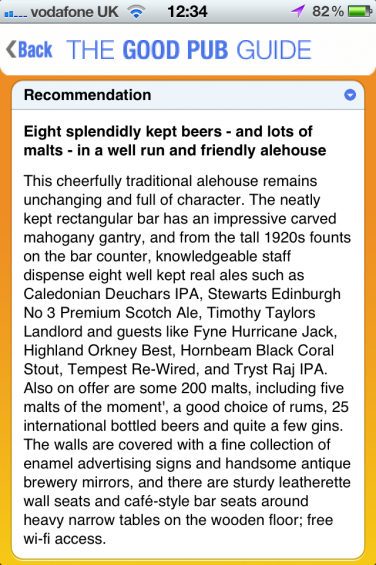 Pub recommendation