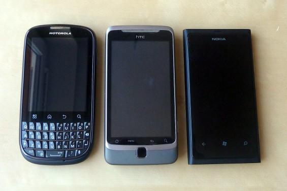 Motorola Pro+ vs. HTC Desire Z vs. Nokia Lumia 800