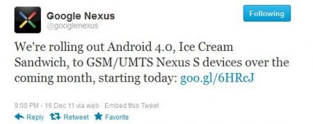 Nexus S Ice Cream Sandwich roll out begins