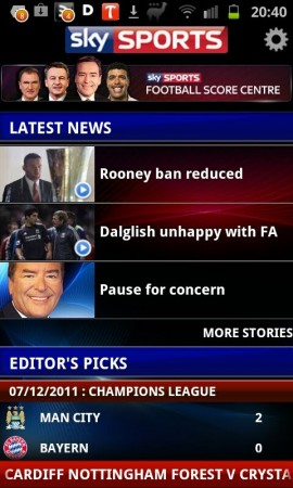 Sky Sports Live Football Score Centre available for Android