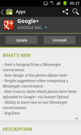Google+ Android app updated. Now includes video chat.