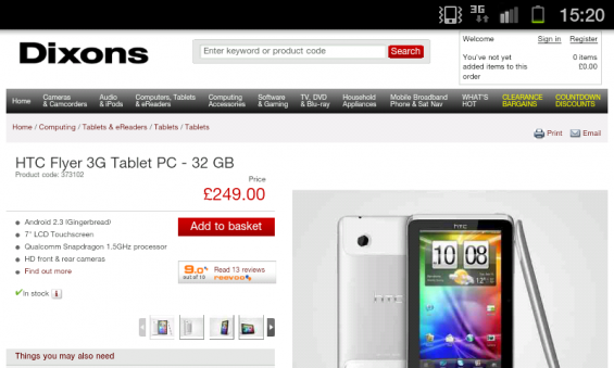 HTC Flyer price drop at Dixons