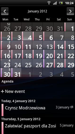 SE Xperia pro screenshot   calendar