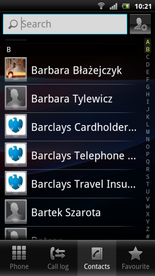 SE Xperia pro screenshot   contacts