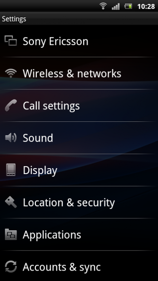 SE Xperia pro screenshot   settings