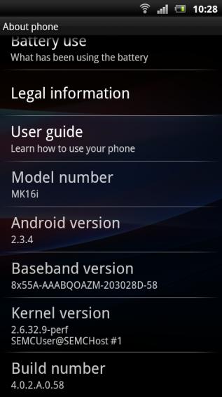 SE Xperia pro screenshot   settings about