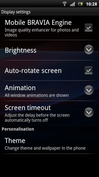 SE Xperia pro screenshot   settings display