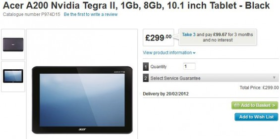 Pre order the Acer A200 for £299