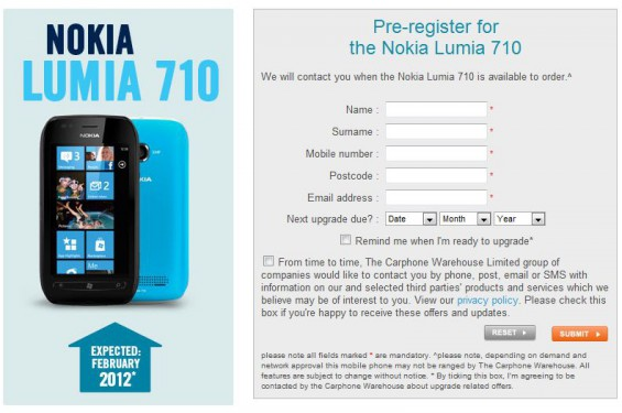 Lumia 710 Available to pre order at Carphone Warehouse