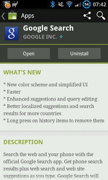 Google search updated on Android