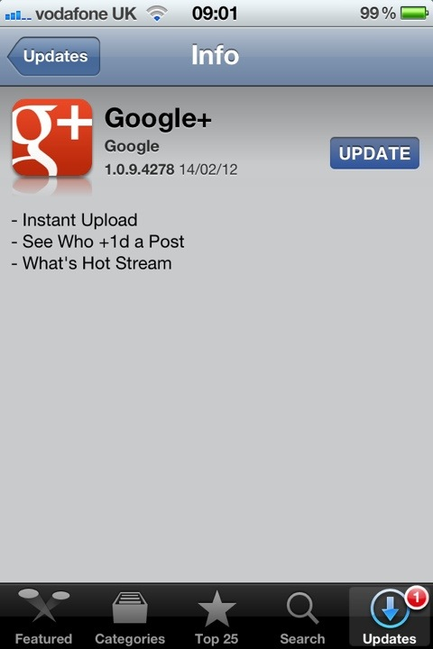 Google+ Gets Instant Uploads