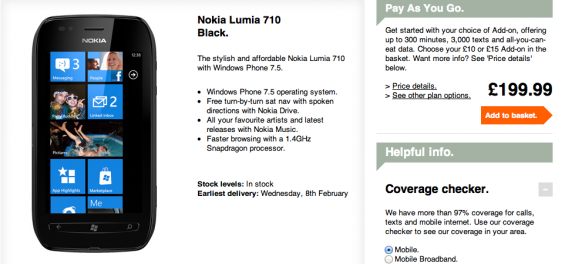 Nokia Lumia 710 Now On Three
