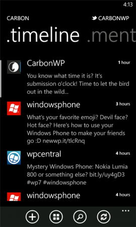 Carbon Twitter client released for Windows Phone