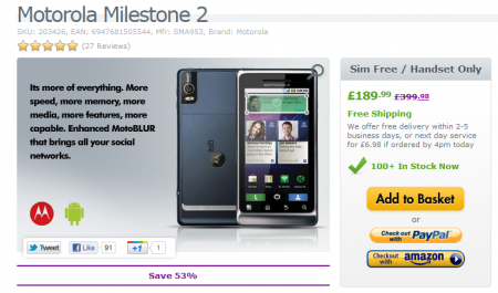 Motorola Milestone 2 selling a bit cheaper than we mentioned the other day