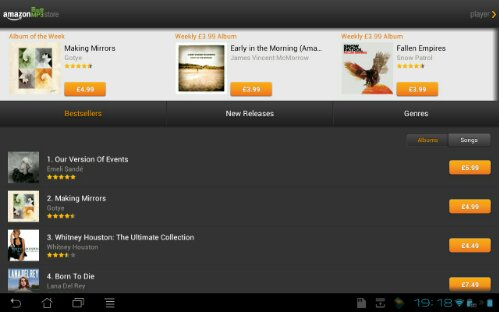 Amazon MP3 receives tablet friendly update