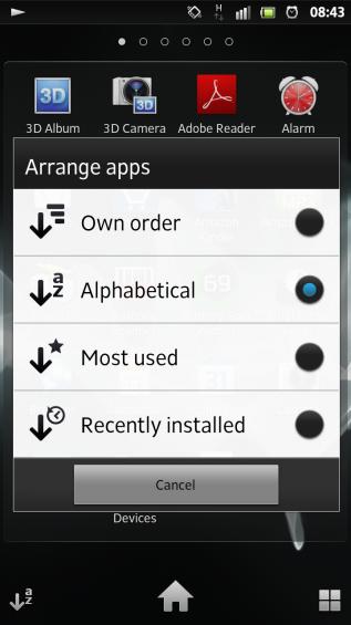 SXS screenshot app drawer sorting