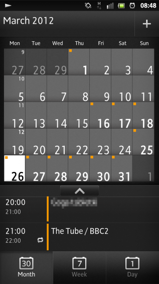 SXS screenshot calendar