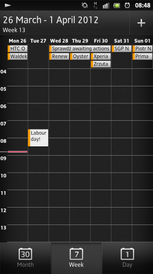 SXS screenshot calendar weekly