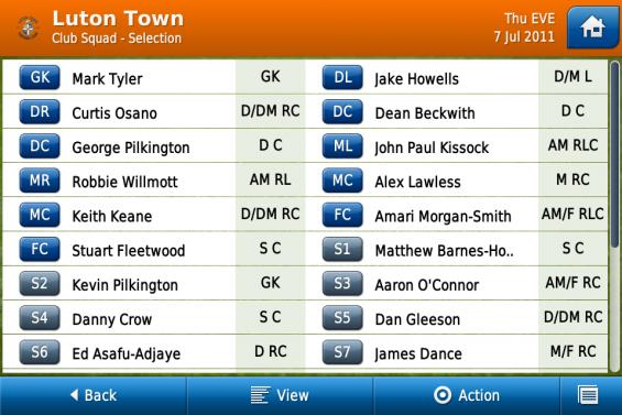 Luton Town club squad selection