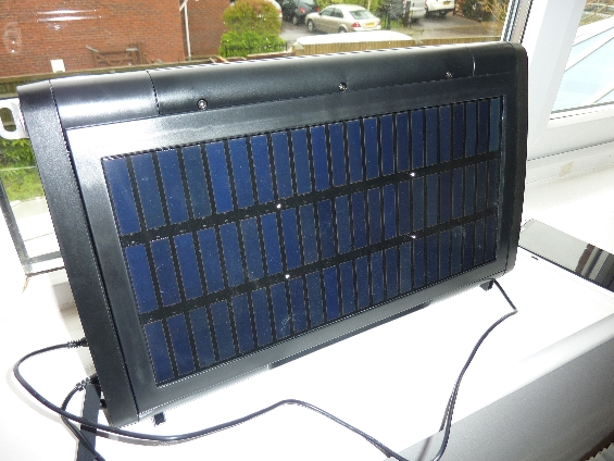 The solar panel   on the back of the speaker