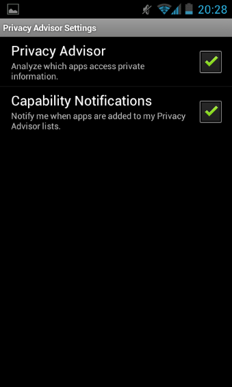 Privacy Advisor Settings